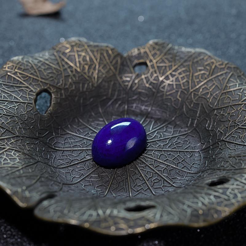 深蓝色青金石蛋面形戒面-红掌柜