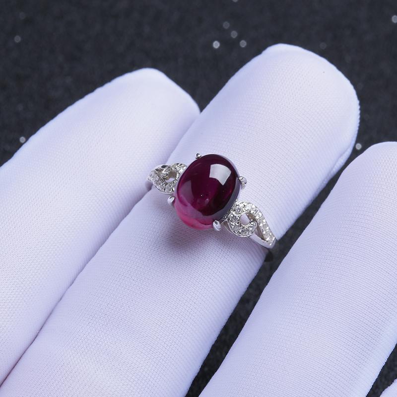 银镶紫牙乌戒指-红掌柜珠宝