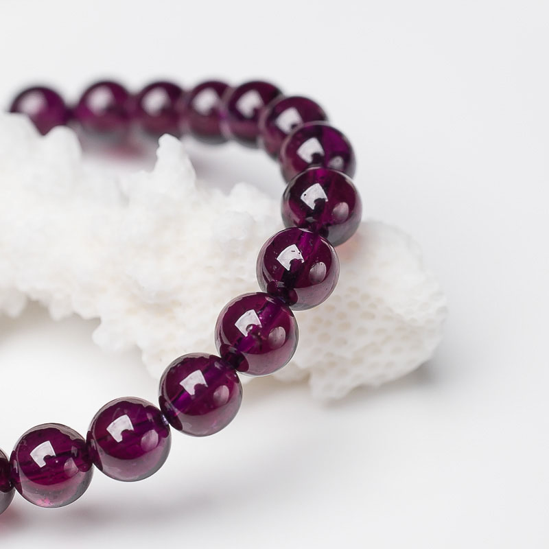 天然紫色石榴石单圈手串-红掌柜