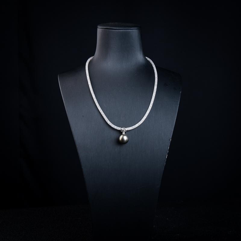 12.3mm18k海水黑色珍珠项链-红掌柜
