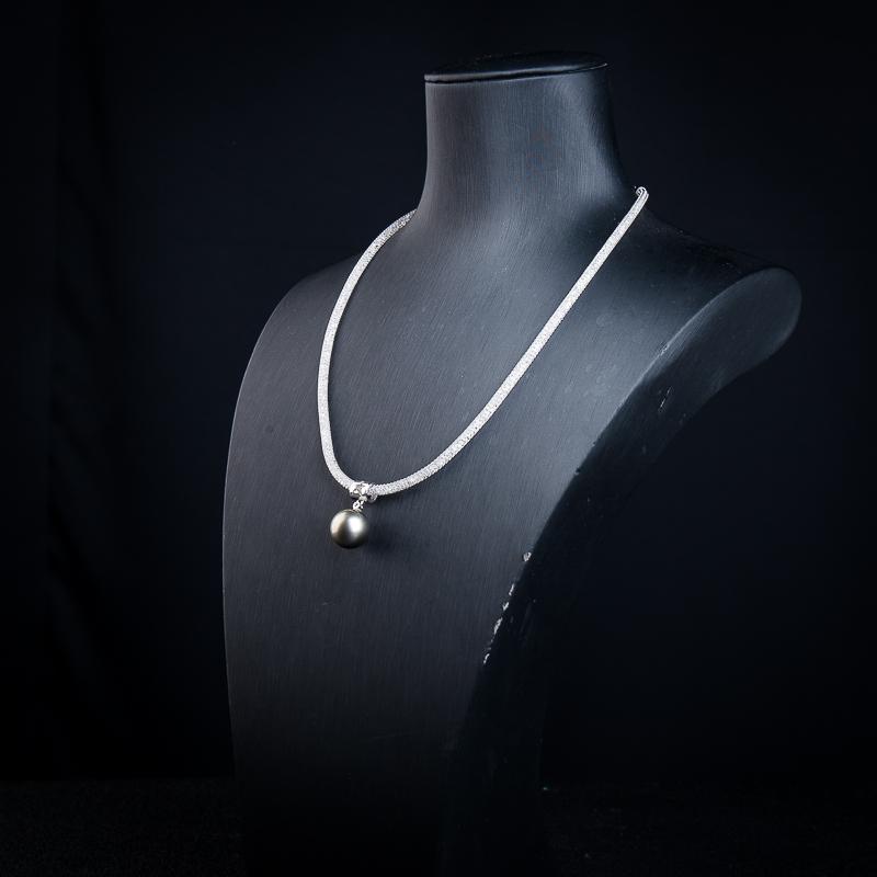 18k海水黑色珍珠项链-红掌柜