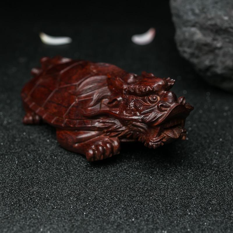 印度天然半星鸡血红小叶紫檀龙龟摆件-红掌柜