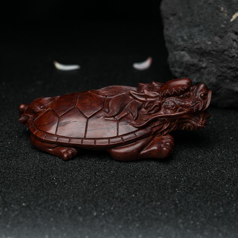 天然半星鸡血红小叶紫檀龙龟摆件-红掌柜